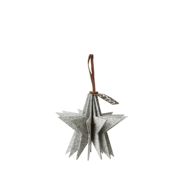 Hanging Ecofelt ornament - star, white