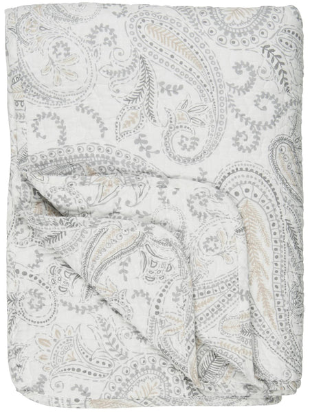 Quilt White w/Beige Paisley