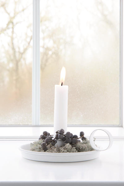 Short Dinner Candle - Light Grey