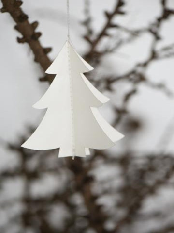 Christmas Tree Decoration - Paper, White