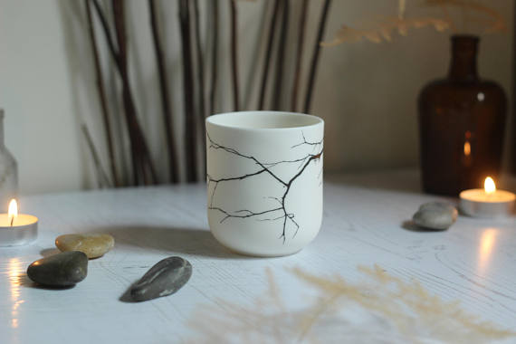 Porcelain Tea Light Holder - Tree Branch