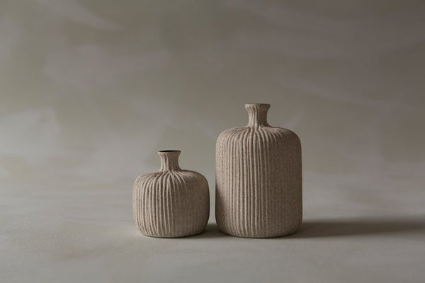 Vase, Bottle Small Sand Light Stripe