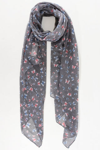 Scarf - Grey w Pink & Blue Butterflies