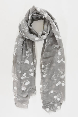 Scarf - Grey w Silver & White Flowers
