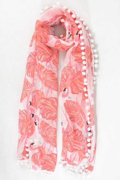 Scarf - White w Flamingos & Pom Pom Trim