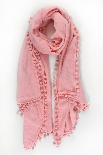Scarf - Light Pink w Pom Pom Trim