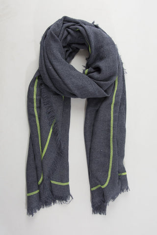 Scarf - Dark Grey w Fluorescent Yellow Trim