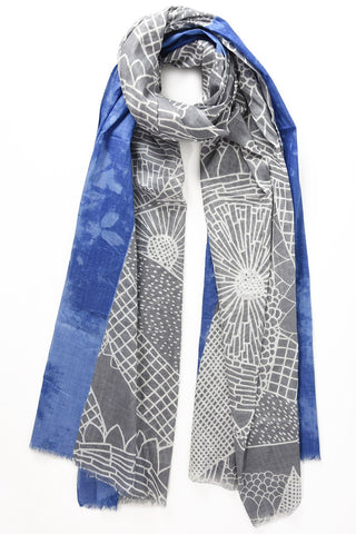 Scarf - Grey & Blue w Floral Design