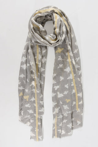 Scarf - Grey w White & Gold Bumblebees