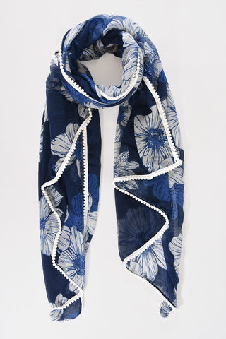 Scarf - Navy w Floral Print