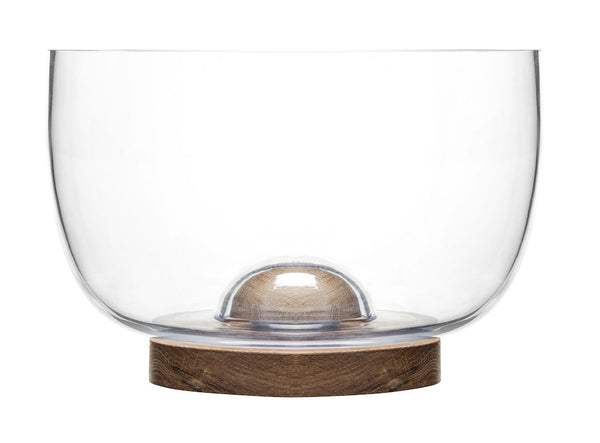Oval Oak Large glass and oak bowl - Sagaform