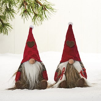 Set of 2 Danish Christmas Felt Elf Nisse Gnome with Heart & Bendable Hat