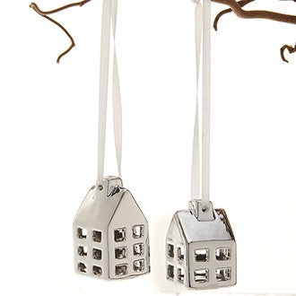 Set of two Silver Porcelain Hanging Houses