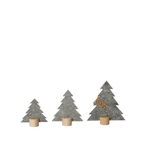3 Eco-Felt Trees on wooden base - Grey