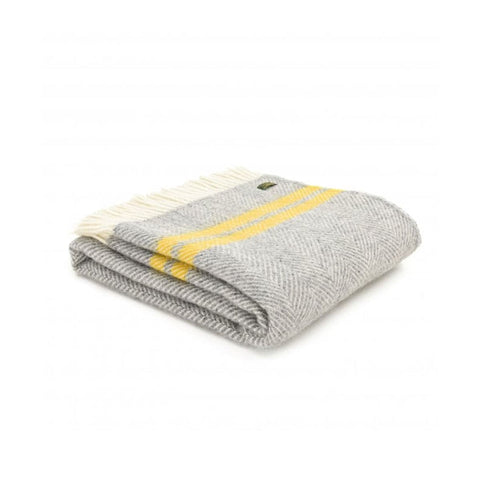 Fishbone 2 Stripe Silver Grey & Mustard Throw