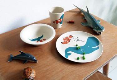 Zuperzozial 3 piece childrens dinner set with whale