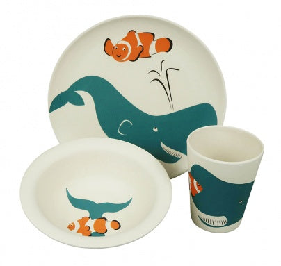 Whale Childrens Bamboo 3 Piece Dinner Set
