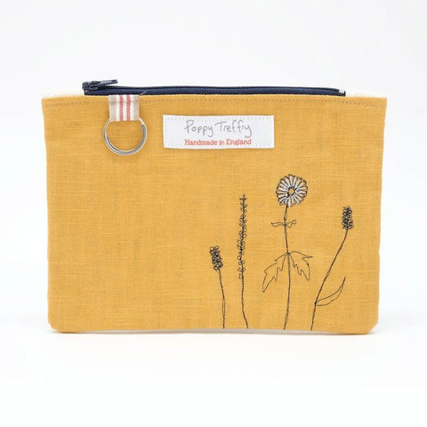 Large, Flat embroidered Purse w. Keyring - Wild grasses
