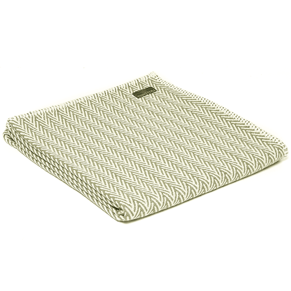 Olive & Cream Herringbone Throw - Organic Cotton