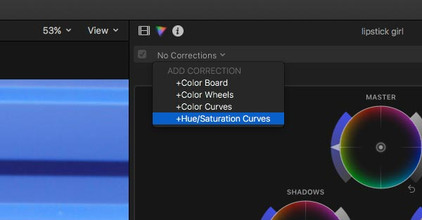 FCXP color correction drop down menu