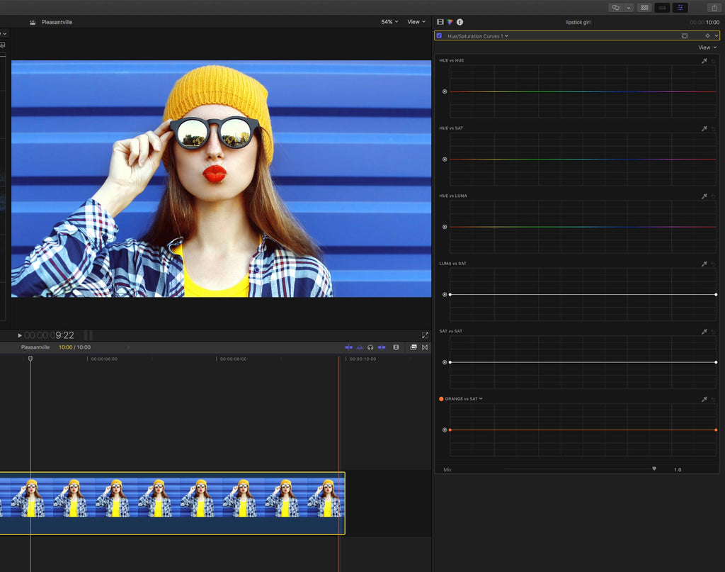 Final Cut Pro X Hue versus saturation curves and controls
