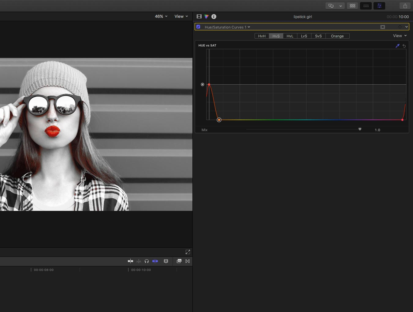 Reduced saturation using curves in final cut pro X