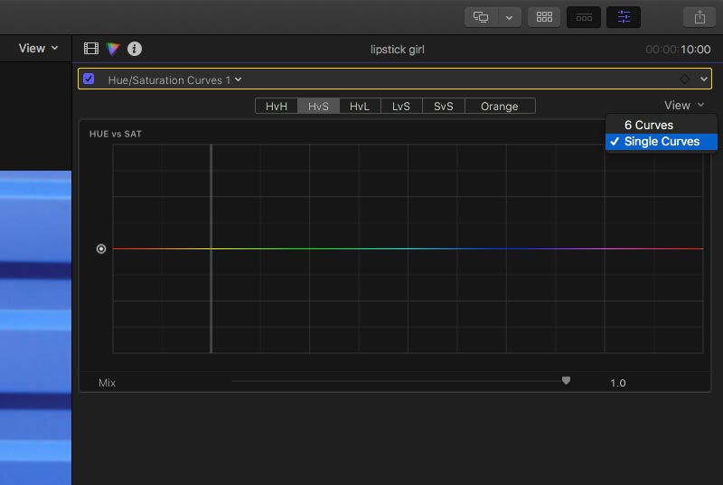 Change colour control display in Final Cut Pro X