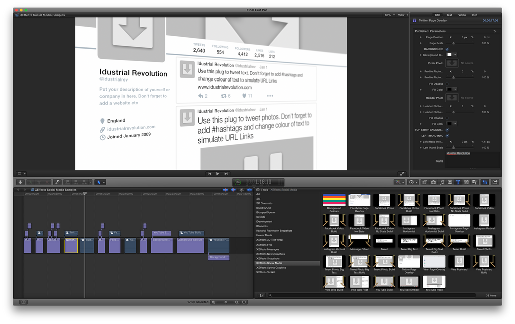 Sample Social Media Library Using Final Cut Pro X plugins