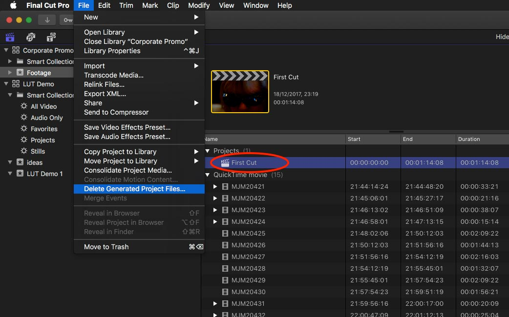 How to Delete Final Cut Pro X Renders- Project or Library
