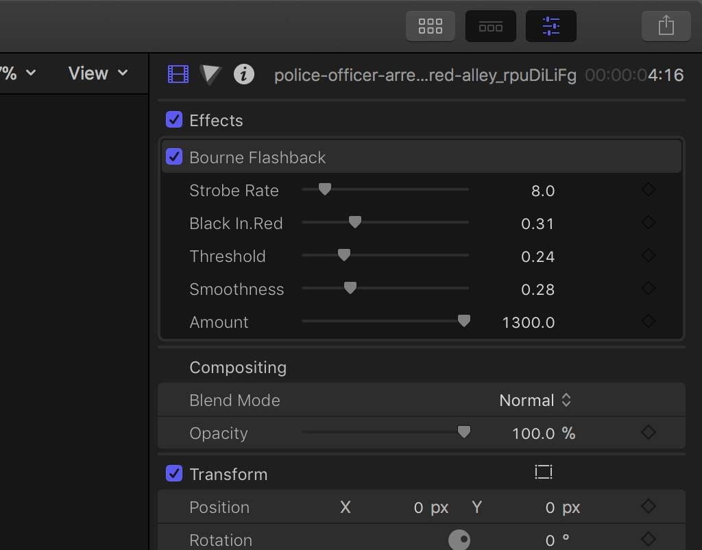 Inspector Controls for Bourne Flashback plugin effect FCPX