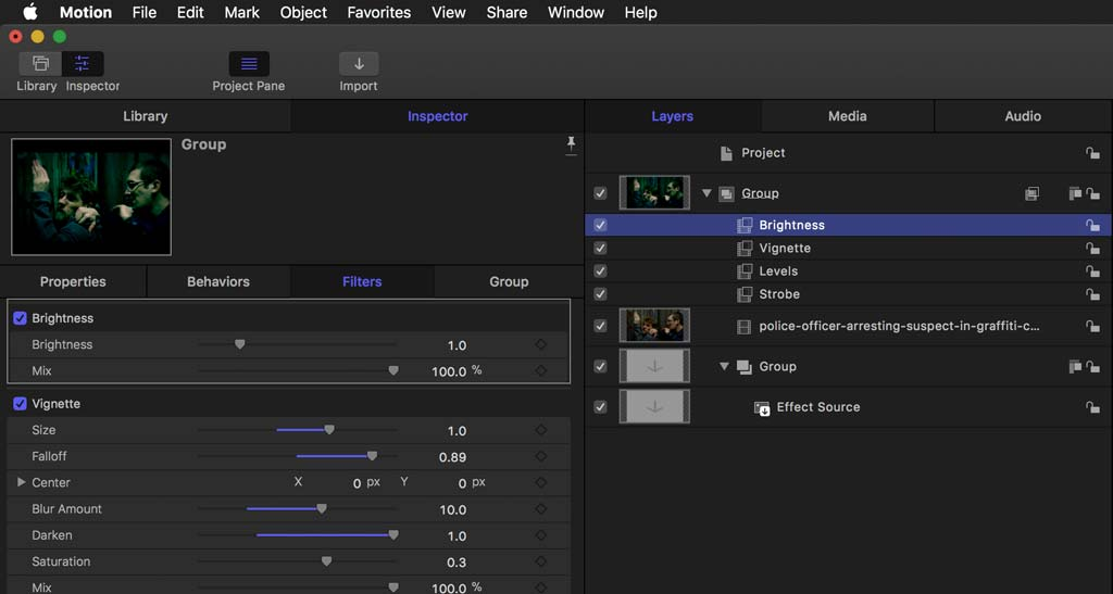 Brightness filter in motion building a plugin for FCPX