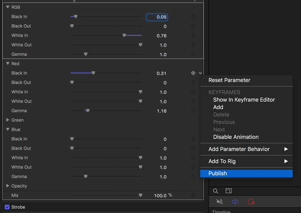 Publish parameter in Motion plugin for Final Cut Pro X