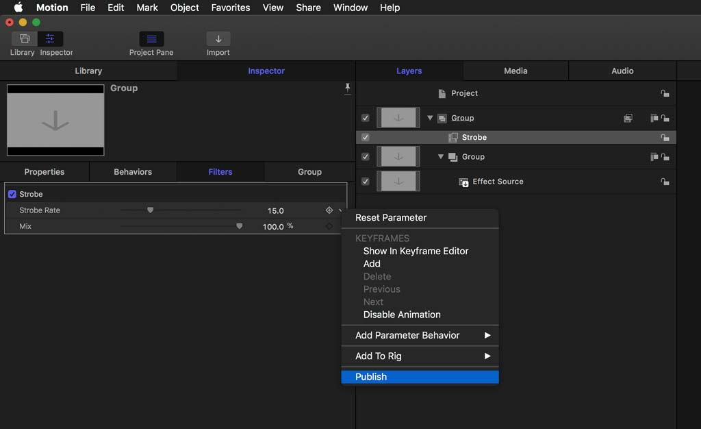 Publish Strobe parameter from Motion to Final Cut Pro X Plugin