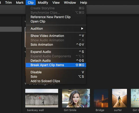 Break Apart Clip items in Final Cut Pro X