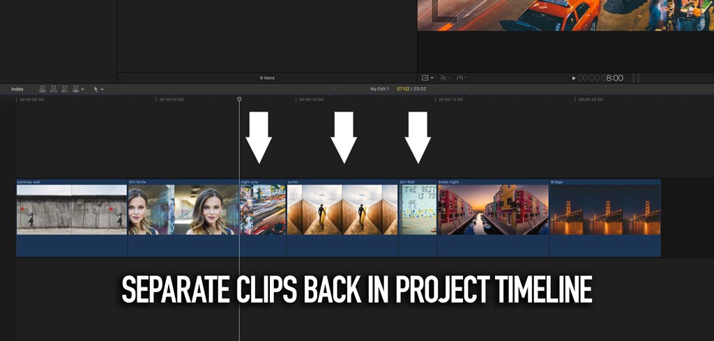 Break apart compound clip in FCPX timeline