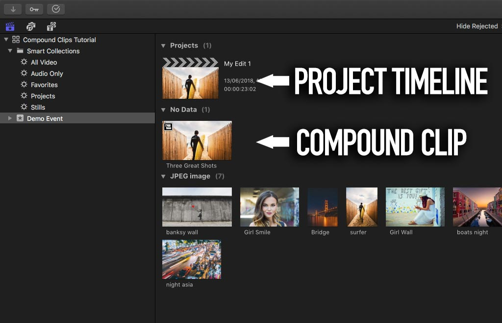 Find project in Final Cut Pro X Browser