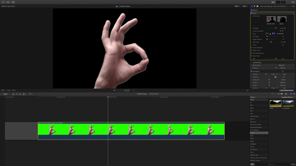 Chromakey on FCPX timeline in Stacy's Mom tutorial for Final Cut Pro X