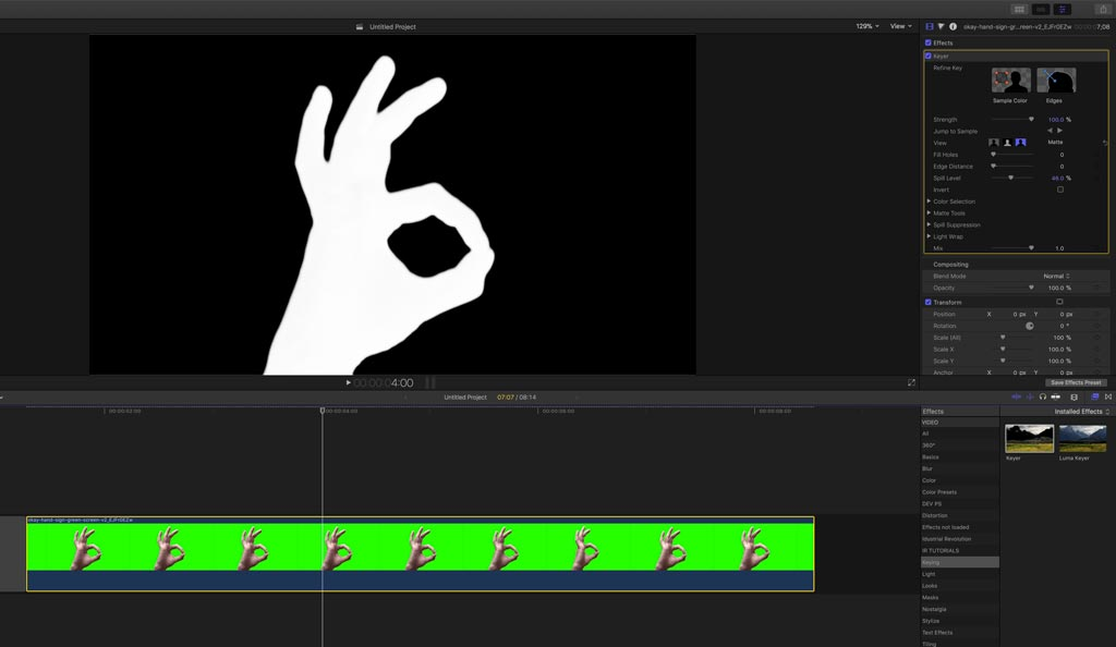 Keyed media on FCPX timeline in Stacy's Mom tutorial for Final Cut Pro X