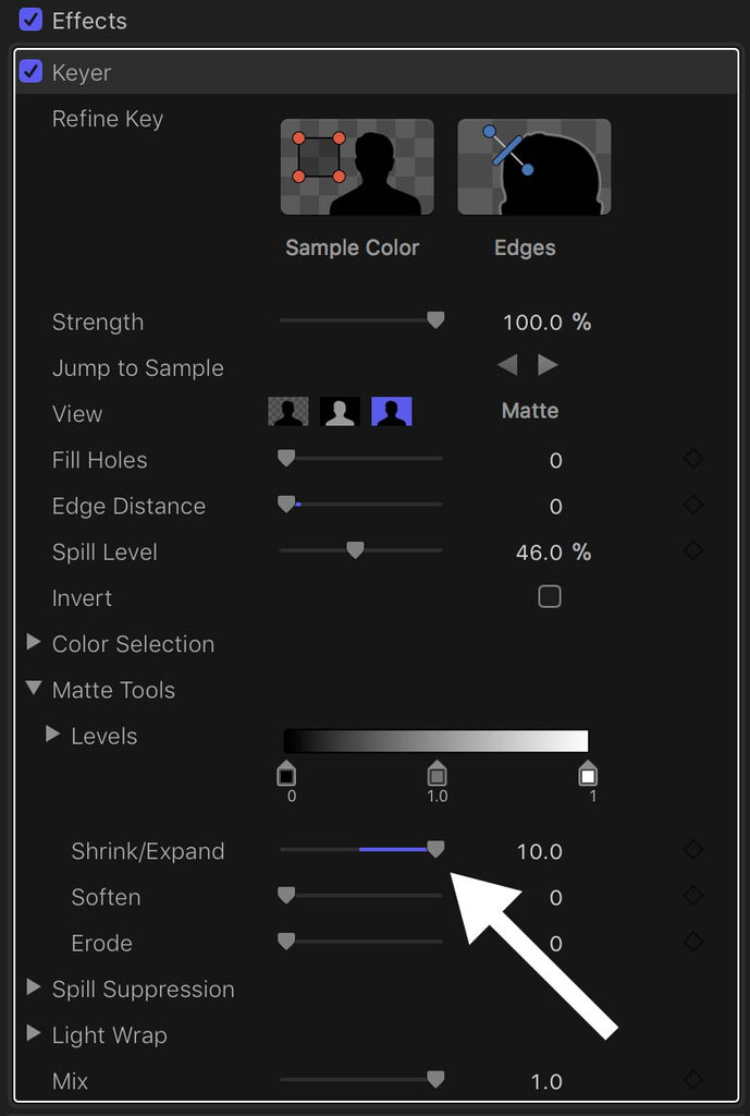Shrink-Expand control in Final Cut Pro X