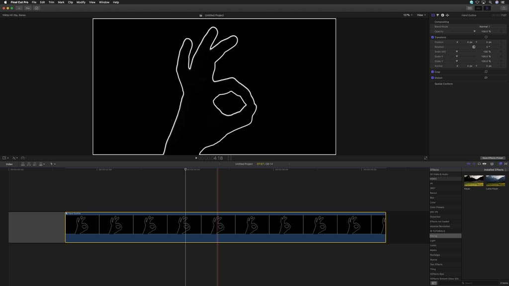 Compound Clip of keying in Stacy's Mom tutorial for Final Cut Pro X