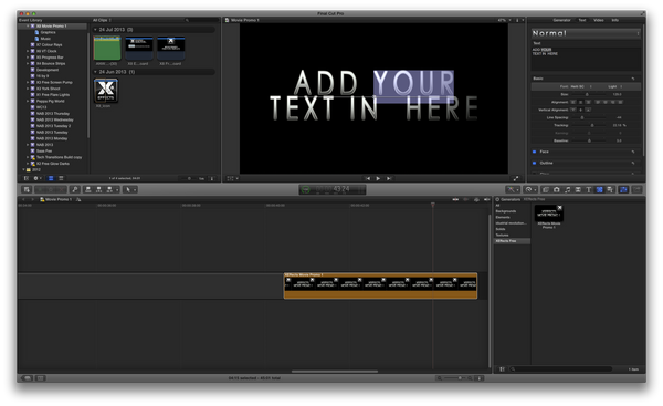 Free XEffects Movie Promo 1 Plugin for Final Cut Pro X