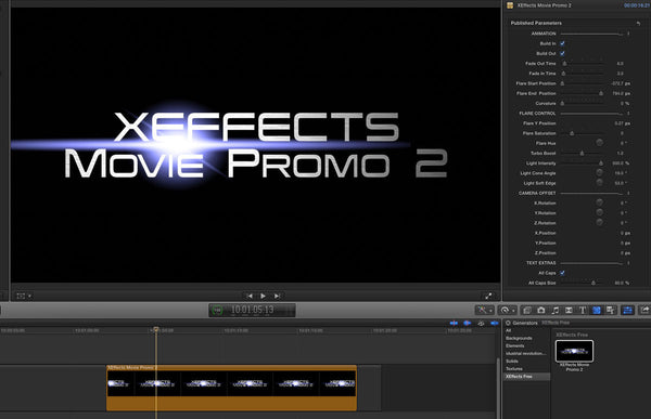 Free XEffects Movie Promo 2 Title Plugin for Final Cut Pro X
