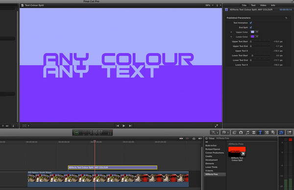 Free XEffects Text Colour Split Transition Plugin for Final