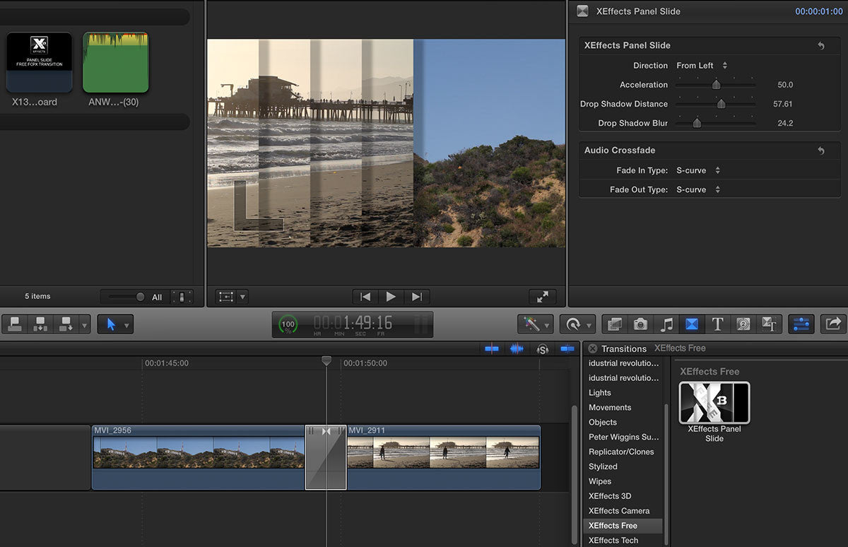 Free XEffects Panel Slide Transition Plugin for Final Cut Pro X