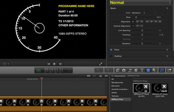 Free XEffects Broadcast VT Clock Generator Plugin for Final
