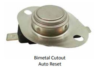 HEATER REPLACEMENT PARTS, CUTOUT BIMTL AUTO RESET DISK TYPE OPEN133F