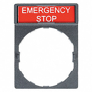 ELEC,E-STOP LEGEND PLATE,RED W/ BLACK LETTERS,FOR WEG 22MM