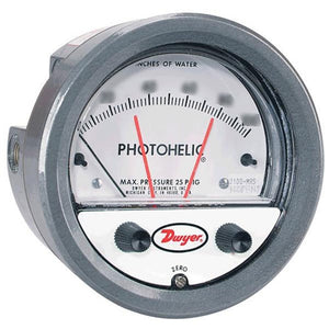 "Gauge, Air Flow Pressure Drop, Range 0-2"" W.C., 0.02 Minor Divisions, Digital Output, With Air Logo"