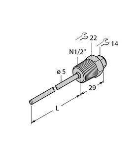 "Thermowell,For Temperature Sensor,3Mm Probe,1/2"" NPT Process Connection,Stainless,50Mm Insertion Depth"
