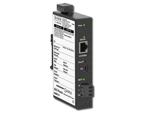 ELEC,BACNET ROUTER,IP TO MS/TP,10/100 MBPS ETHERNET,DIN RAIL MOUNTED,24VAC/VDC